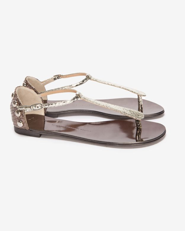 Giuseppe Zanotti Exclusive Snake Embossed Studded Mirrored Flat Sandal