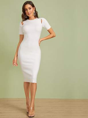 Shein Cutout Detail Slim Solid Sweater Dress