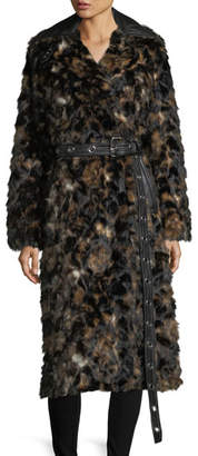 Helmut Lang Tortoise Faux-Fur Shawl-Collar Belted Coat w/ Faux-Leather Trim