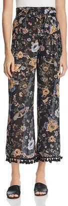 Molly Bracken Tasseled Floral-Print Pants