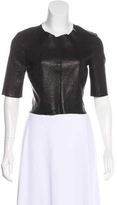 A.L.C. Leather Short Sleeve Top