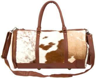MAHI Leather - Leather Columbus Duffle Weekend Bag in Brown and White Pony Hair