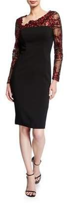 Carmen Marc Valvo Embroidered Illusion Asymmetric-Neck Long-Sleeve Crepe Sheath Dress