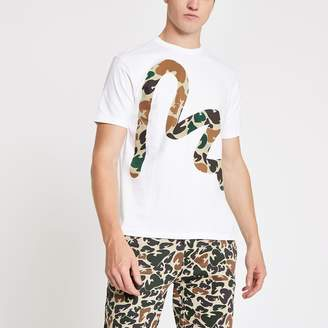 River Island Mens Money Clothing White camo Money print T-shirt