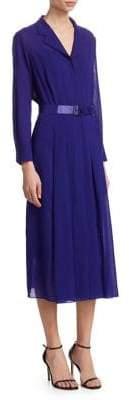 Akris Wool Crepe Georgette Shirt Dress