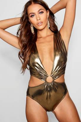 boohoo Paris Hilton Metallic O Ring Strappy Bodysuit