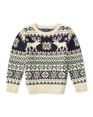 Ralph Lauren Fair Isle Reindeer Pullover Sweater, Cream/Multicolor, Size 2-7 $89.50 thestylecure.com