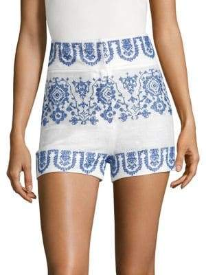 Milly Linen Embroidered Shorts