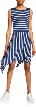 Majestic Striped Crewneck Sleeveless A-Line Dress