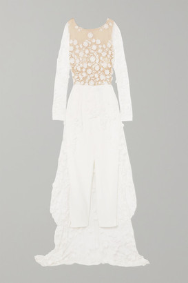 Rime Arodaky Patsy Lace-trimmed Embroidered Tulle And Crepe Jumpsuit - White