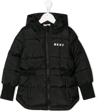 DKNY logo print padded jacket