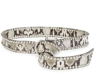 B-Low the Belt B Low The Belt Mia Motto Python-Print Studded Pull-Through Belt