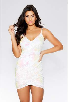 Quiz White And Pink Sequin Strappy Dress