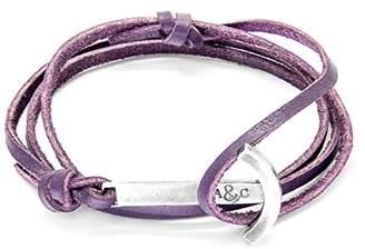 ANCHOR & CREW Unisex 925 Sterling Silver Purple Leather Clipper Bracelet
