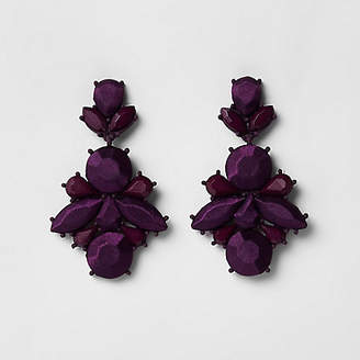 River Island Purple satin jewel drop stud earrings