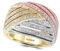Effy Diamond & 14K White, Yellow & Rose Gold Ring
