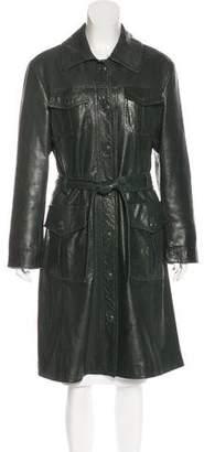 Alberta Ferretti Embossed Leather Coat