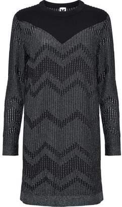 M Missoni Ponte-Paneled Metallic Crochet-Knit Mini Dress