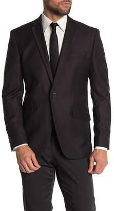 Kenneth Cole Reaction Black Burgundy Grid Two Button Notch Lapel Evening Jacket