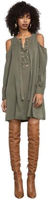 BCBGMAXAZRIA Abbey Sueded Cold-Shoulder Dress