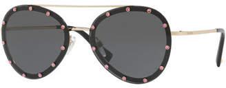 Valentino Studded Aviator Sunglasses