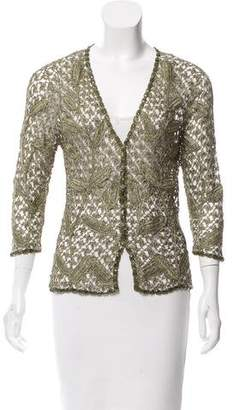Carmen Marc Valvo Metallic Crochet Cardigan w/ Tags