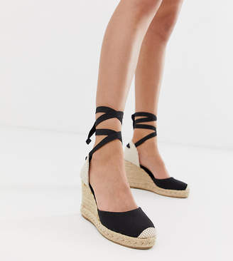 b48e21fa7 New Look ankle tie up espadrille heel in black