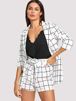 Shein Plaid Blazers With Self Tie Waist Shorts