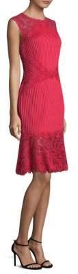 Tadashi Shoji Pleated Lace Dress