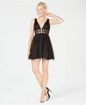 Blondie Nites Juniors' Plunging Glitter-Embellished Dress