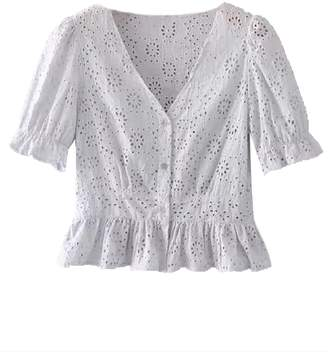 f5a7419f9141f Goodnight Macaroon  Hazel  Broderie Anglaise Button Front Top (2 ...