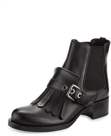 pradaPrada Leather Kiltie Chelsea Boot, Black