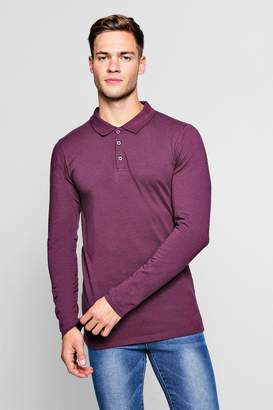 boohoo Long Sleeve Extreme Muscle Fit Polo