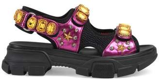 Gucci Metallic leather sandal with crystals