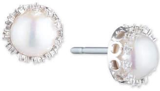 Carolee Silver-Tone Crystal & Freshwater Pearl (10mm) Filigree Stud Earrings
