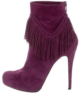 Christian Louboutin Christian Louboutin Suede Fringe Ankle Boots