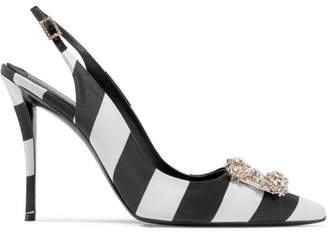 Roger Vivier Flower Strass Crystal-embellished Striped Satin Slingback Pumps - Black
