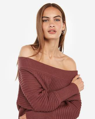 Express Mixed Stitch Off The Shoulder Pullover Sweater