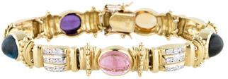 18K Gold Multi-Gem and Diamond Link Bracelet