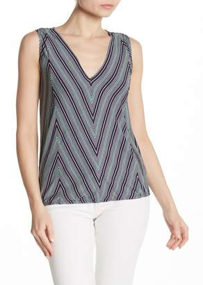 Max Studio V-Neck Printed Knit Tank
