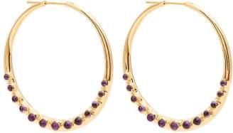 THEODORA WARRE Amethyst-embellished gold-plated hoop earrings