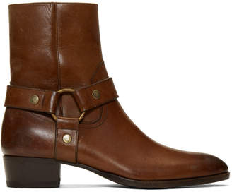 Saint Laurent Brown Wyatt 40 Harness Boots