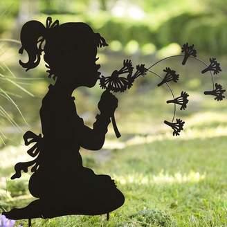 Wind & Weather Dandelion Girl Silhouette Metal Garden Stake