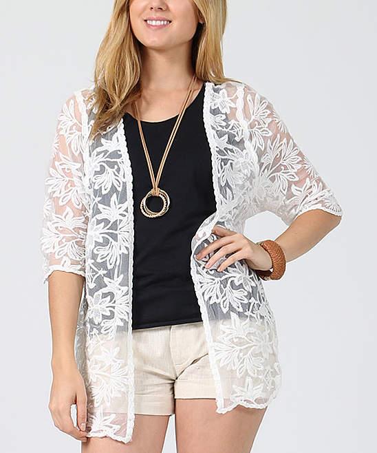 Ivory Floral Lace Scallop-Hem Jacket - Women
