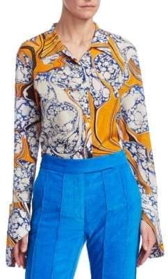 Rosie Assoulin Stretch Silk Printed Button-Down Shirt