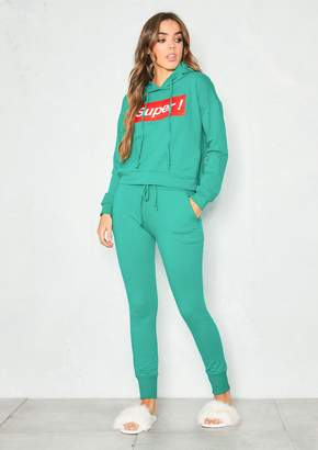 4e455a77e7 Missy Empire Missyempire Kirstie Green Super Slogan Hooded Loungewear Set