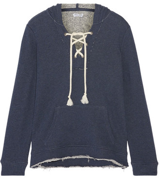 Splendid - Lace-up French Cotton-terry Hooded Top - Storm blue $140 thestylecure.com