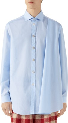 Gucci Pleated Stripe Button-Up Shirt