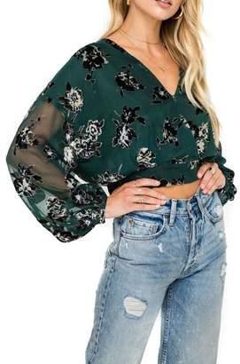 Astr Green Floral Blouse