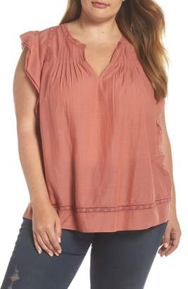 Lucky Brand Flutter Sleeve Pintuck Top